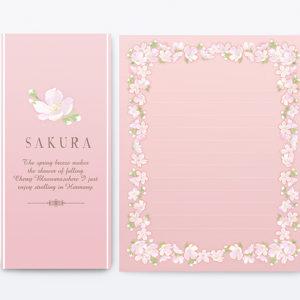 学研ステイフルSAKURA八重桜バージョン レターセットイラスト制作